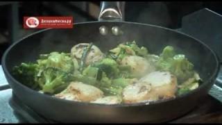 Жаренные морские гребешки с овощами