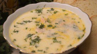 Рыбный суп из горбуши (лосося) со сливками