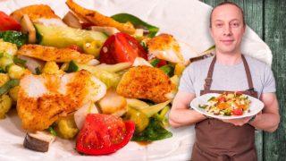 Салат из цветной капусты и трески