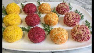 Праздничные шарики с селедкой