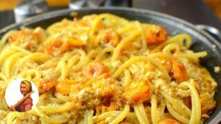 Паста с креветками под сливочным соусом, вином и базиликом