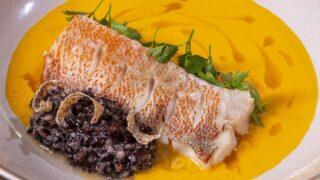 Морской окунь с рисом и супер соусом